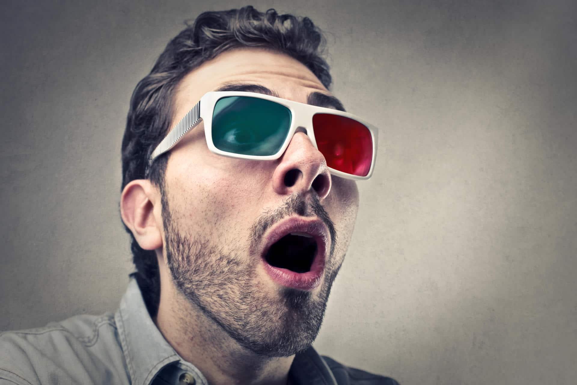 Man wearing cinema 3D Glasses