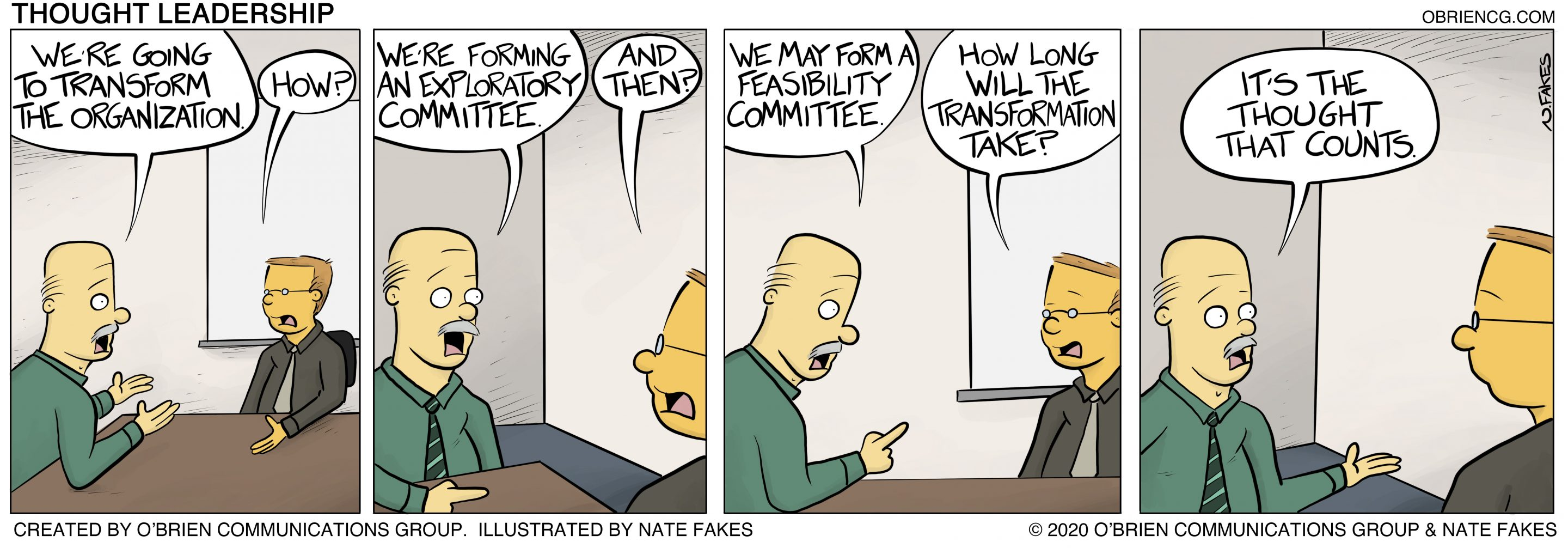 Thought Leadership - A comic by O'Brien Communications Group